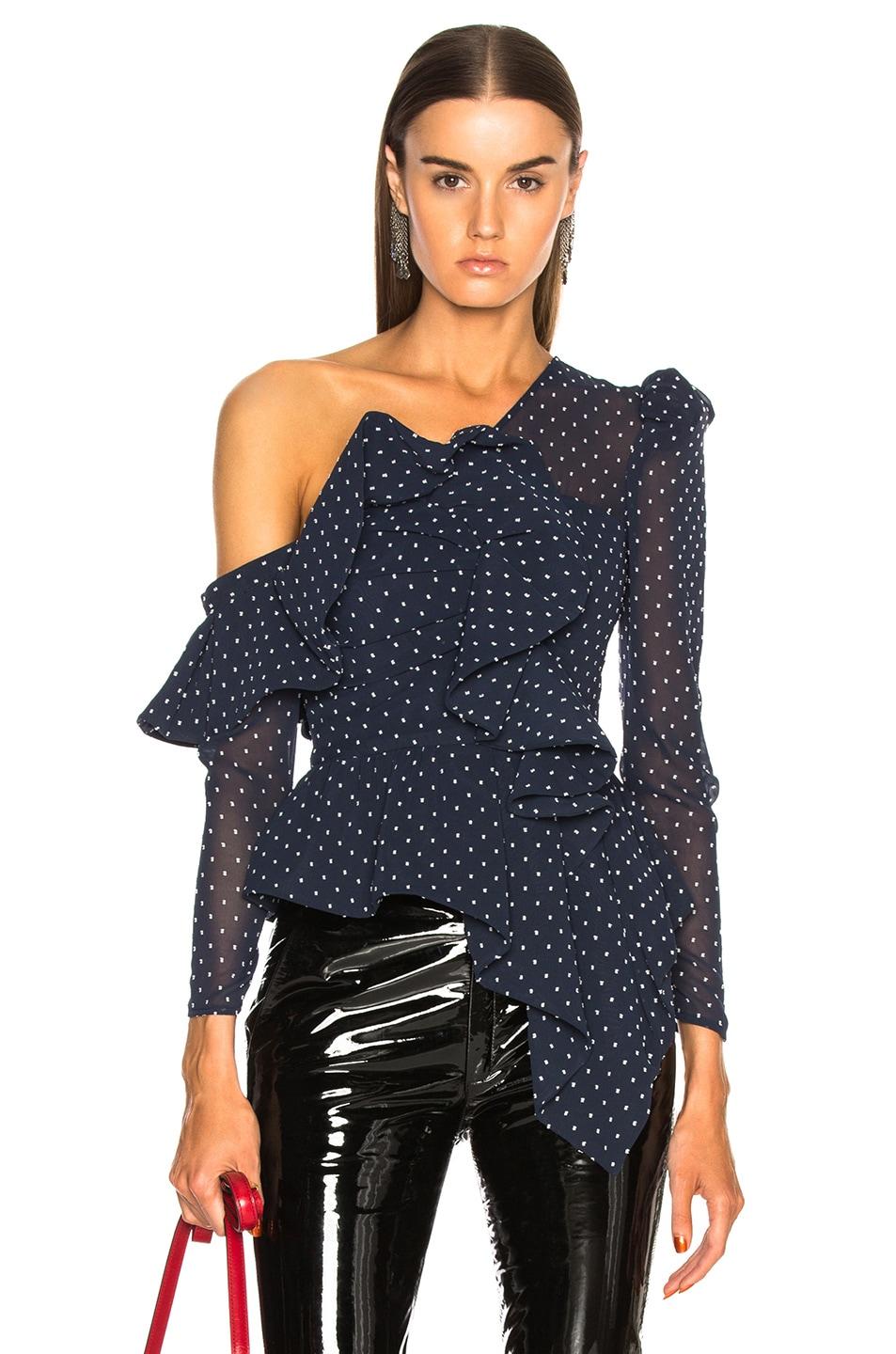 Image 1 of self-portrait Plumetis Frill Top in Navy