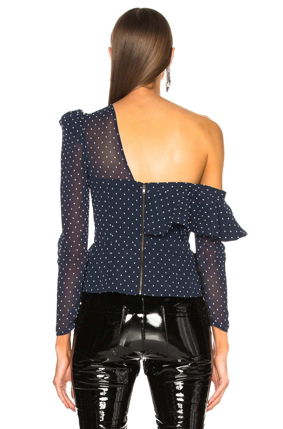 Image 4 of self-portrait Plumetis Frill Top in Navy