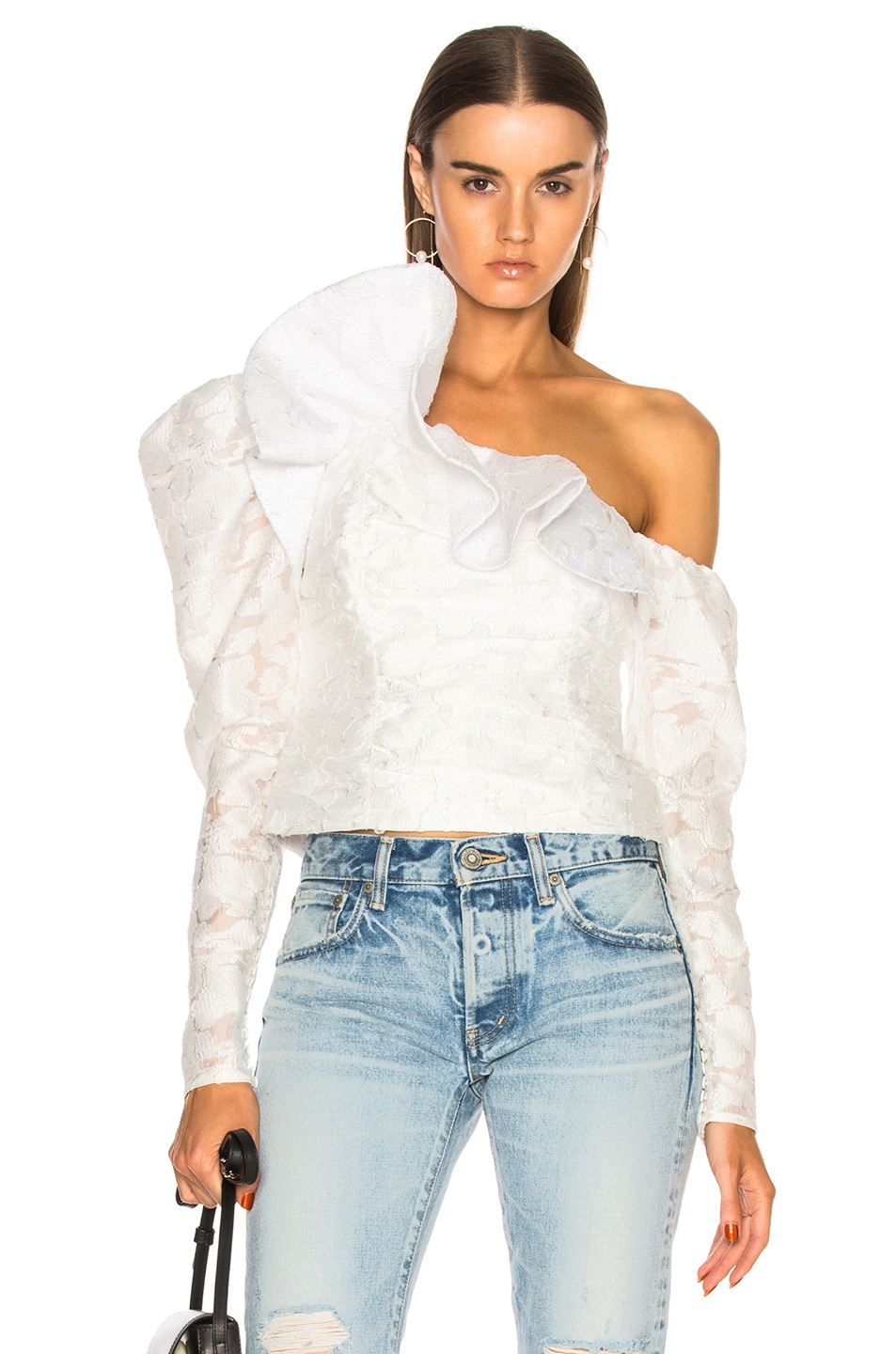self-portrait Floral Fil Coupe Ruffle Top in White