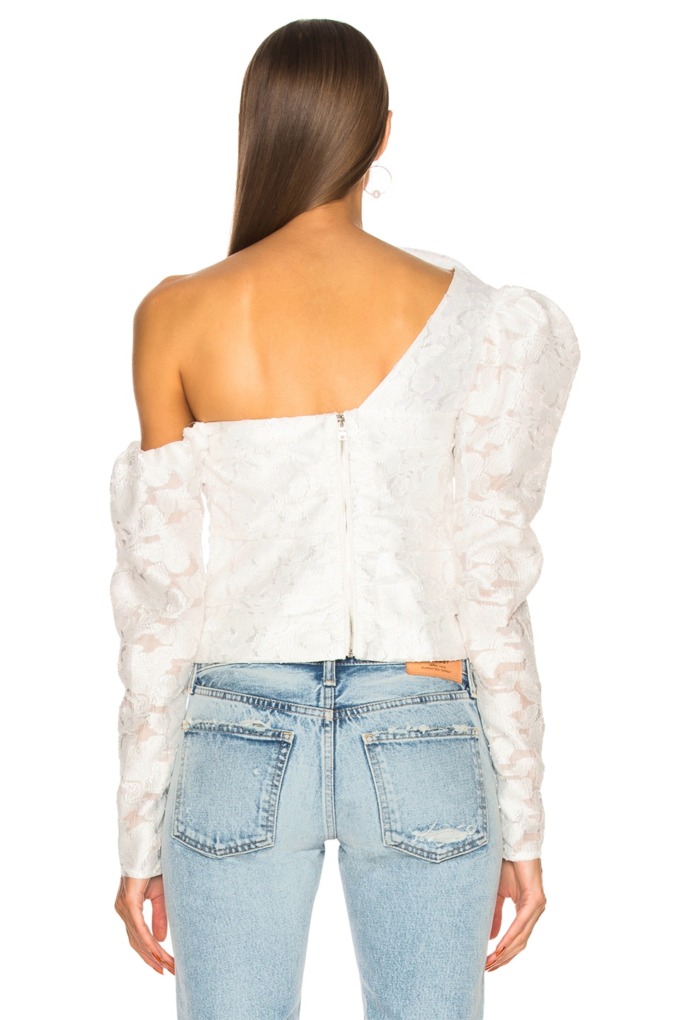 Image 4 of self-portrait Floral Fil Coupe Ruffle Top in White