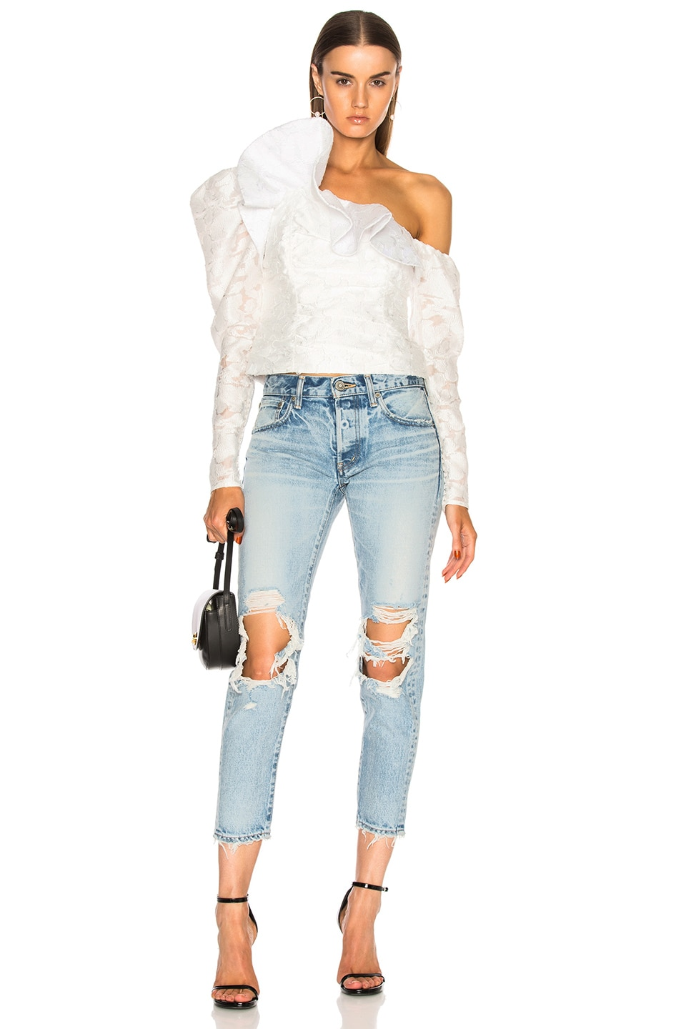 Image 5 of self-portrait Floral Fil Coupe Ruffle Top in White
