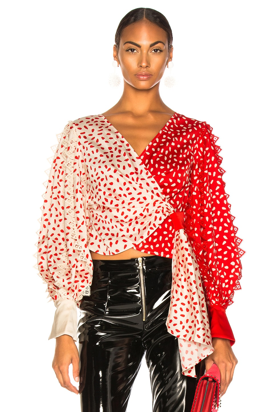 Image 1 of self-portrait Satin Printed Wrap Top in Cream & Red
