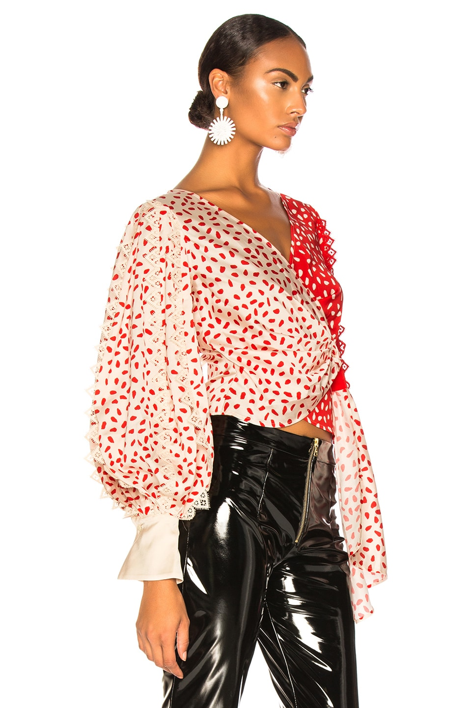 Image 2 of self-portrait Satin Printed Wrap Top in Cream & Red