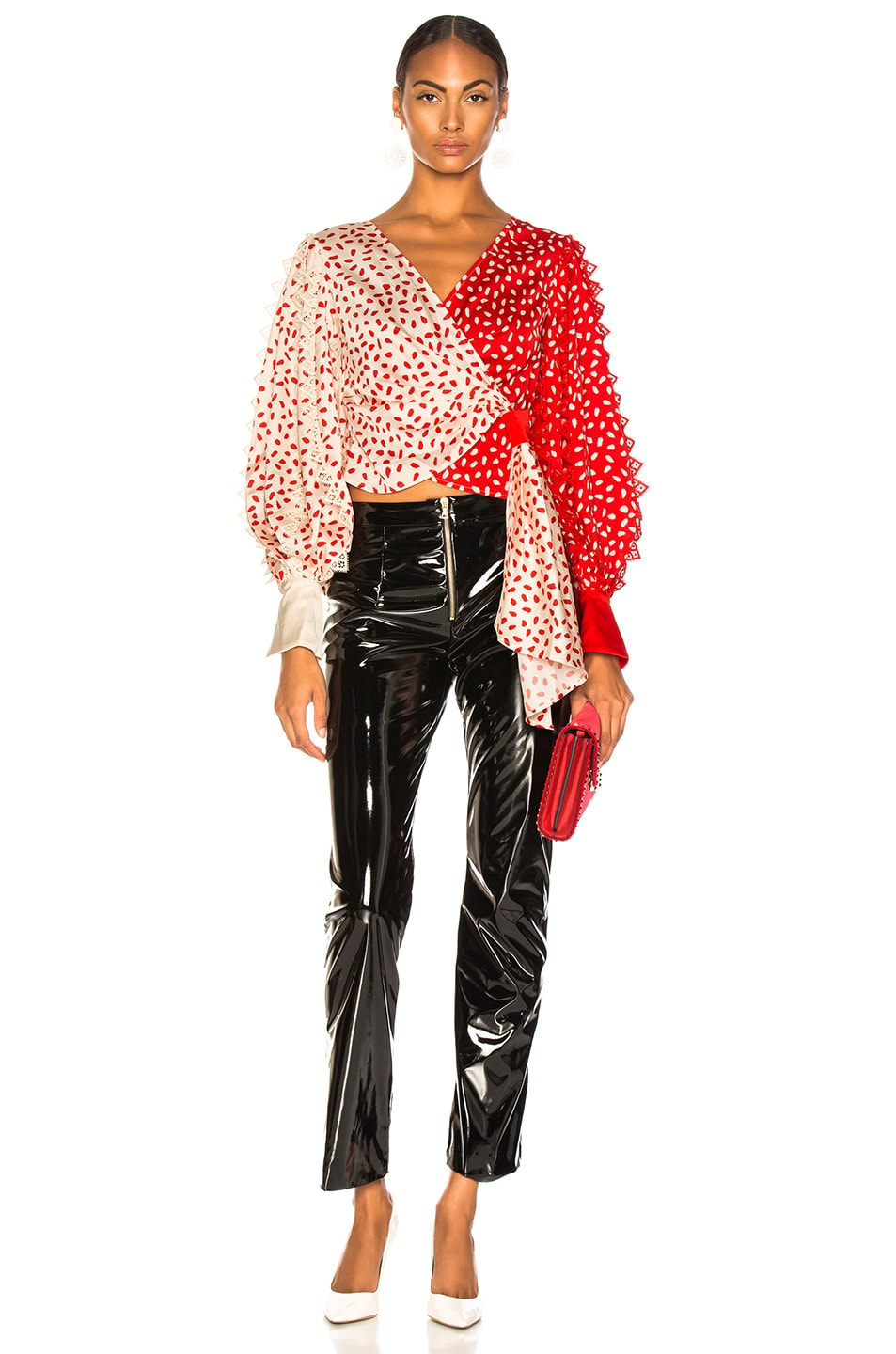 Image 5 of self-portrait Satin Printed Wrap Top in Cream & Red