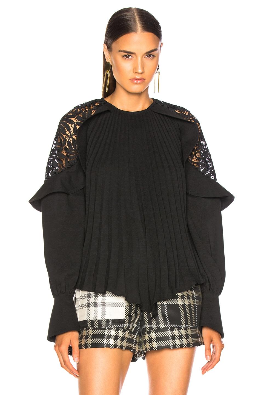 Image 2 of self-portrait Lace Shoulder Top in Black