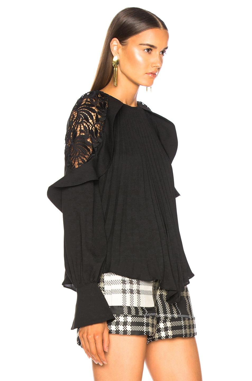 Image 3 of self-portrait Lace Shoulder Top in Black