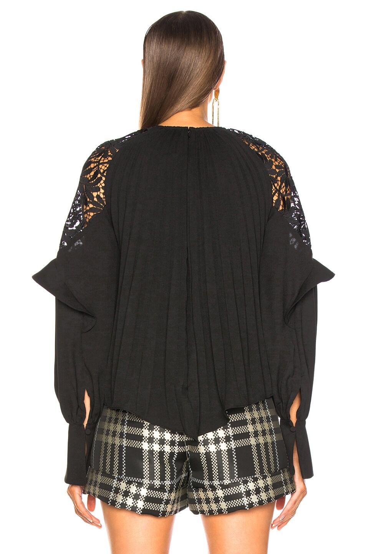 Image 4 of self-portrait Lace Shoulder Top in Black