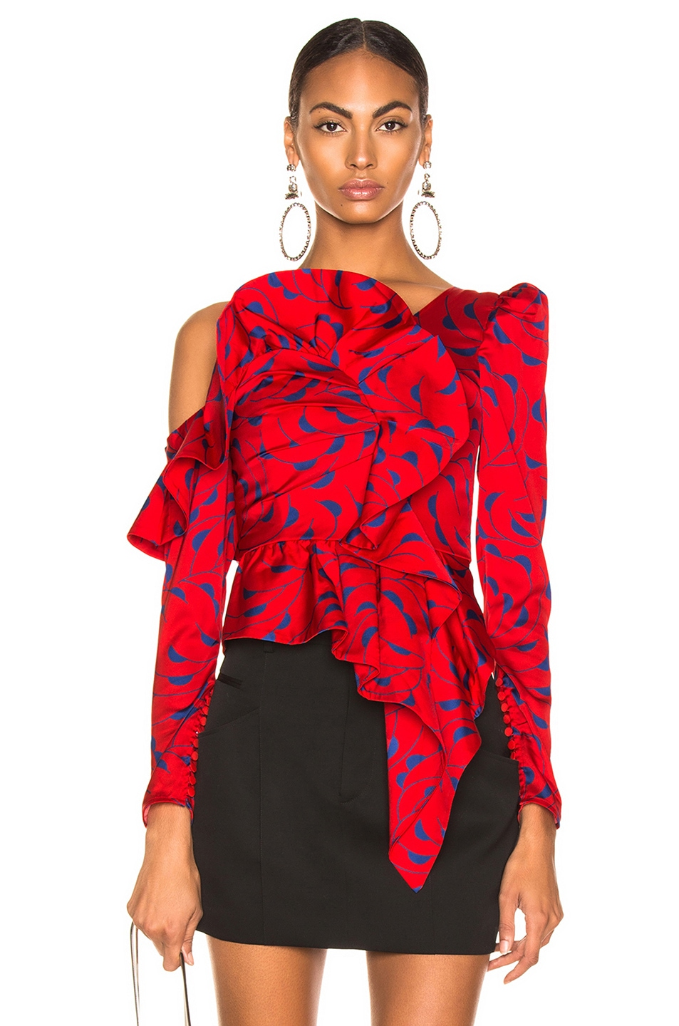 Image 1 of self-portrait Printed Red Frill Top in Red & Navy