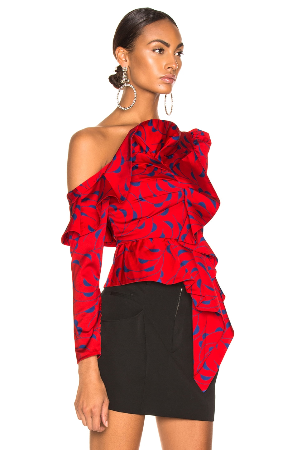 Image 2 of self-portrait Printed Red Frill Top in Red & Navy