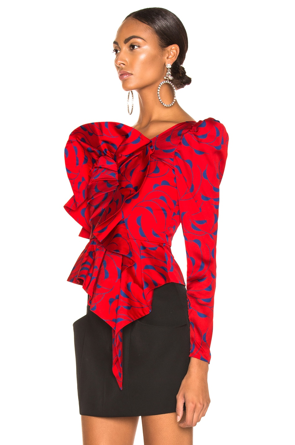 Image 3 of self-portrait Printed Red Frill Top in Red & Navy