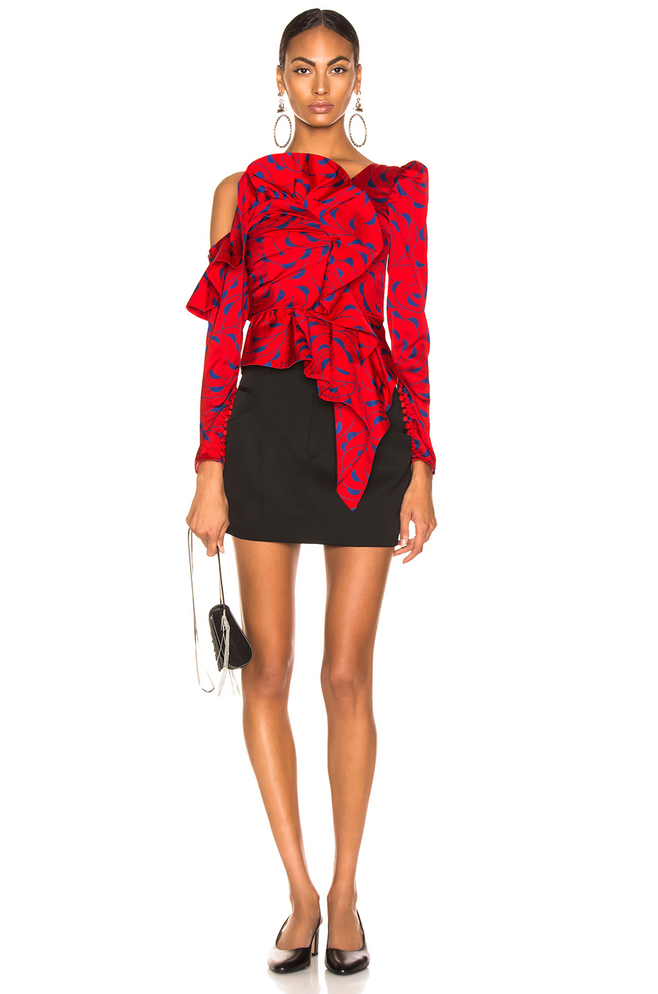 Image 5 of self-portrait Printed Red Frill Top in Red & Navy