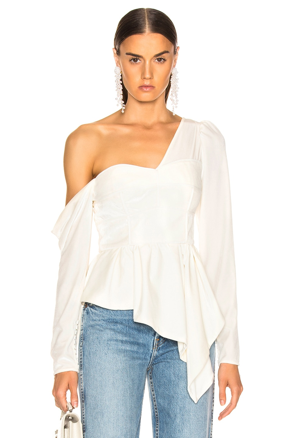Image 1 of self-portrait Asymmetric Velvet Top in Cream