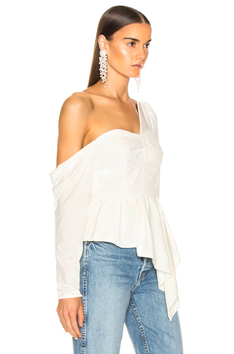 Image 2 of self-portrait Asymmetric Velvet Top in Cream
