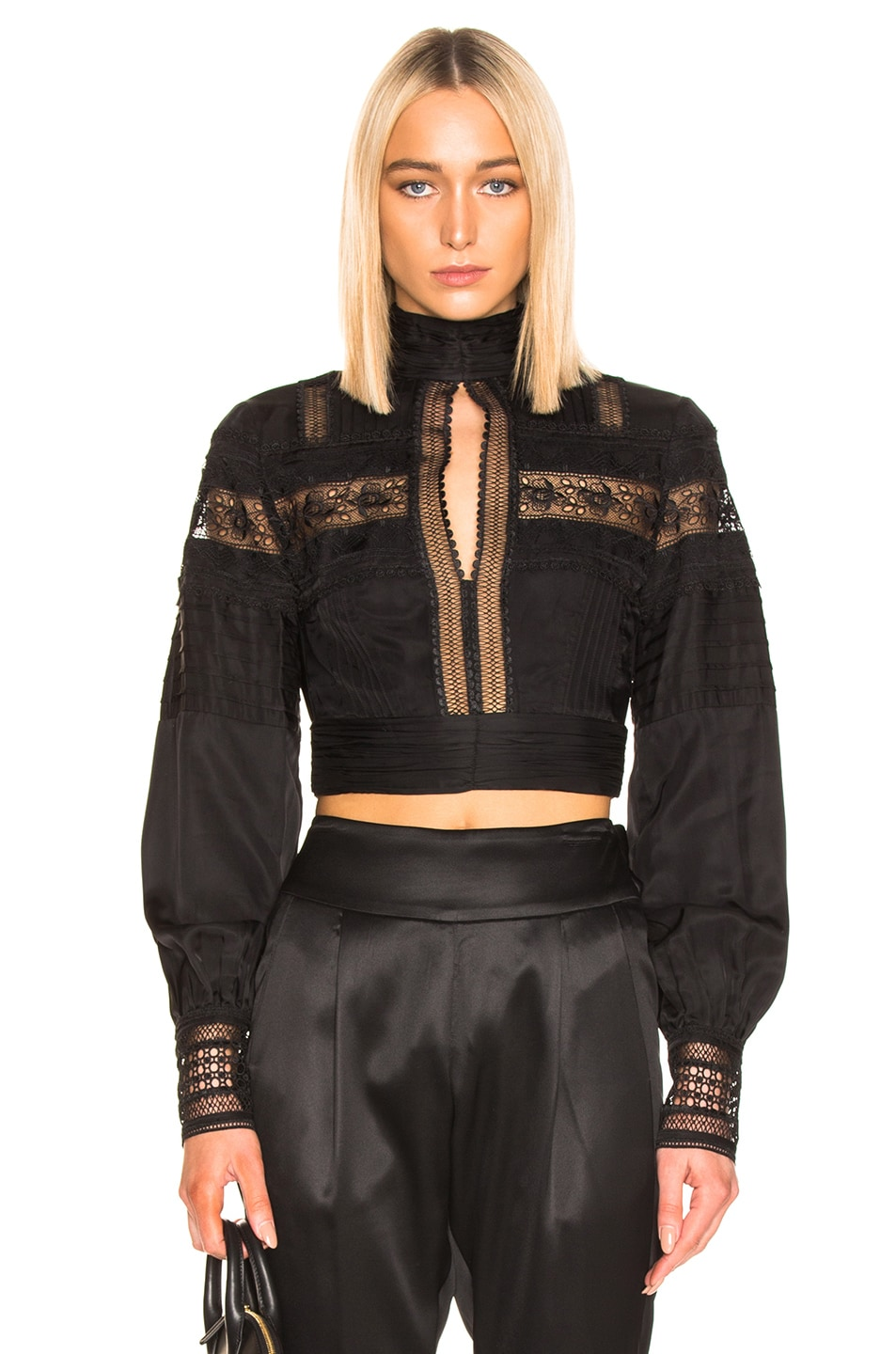 Image 1 of self-portrait Lace Trimmed Top in Black