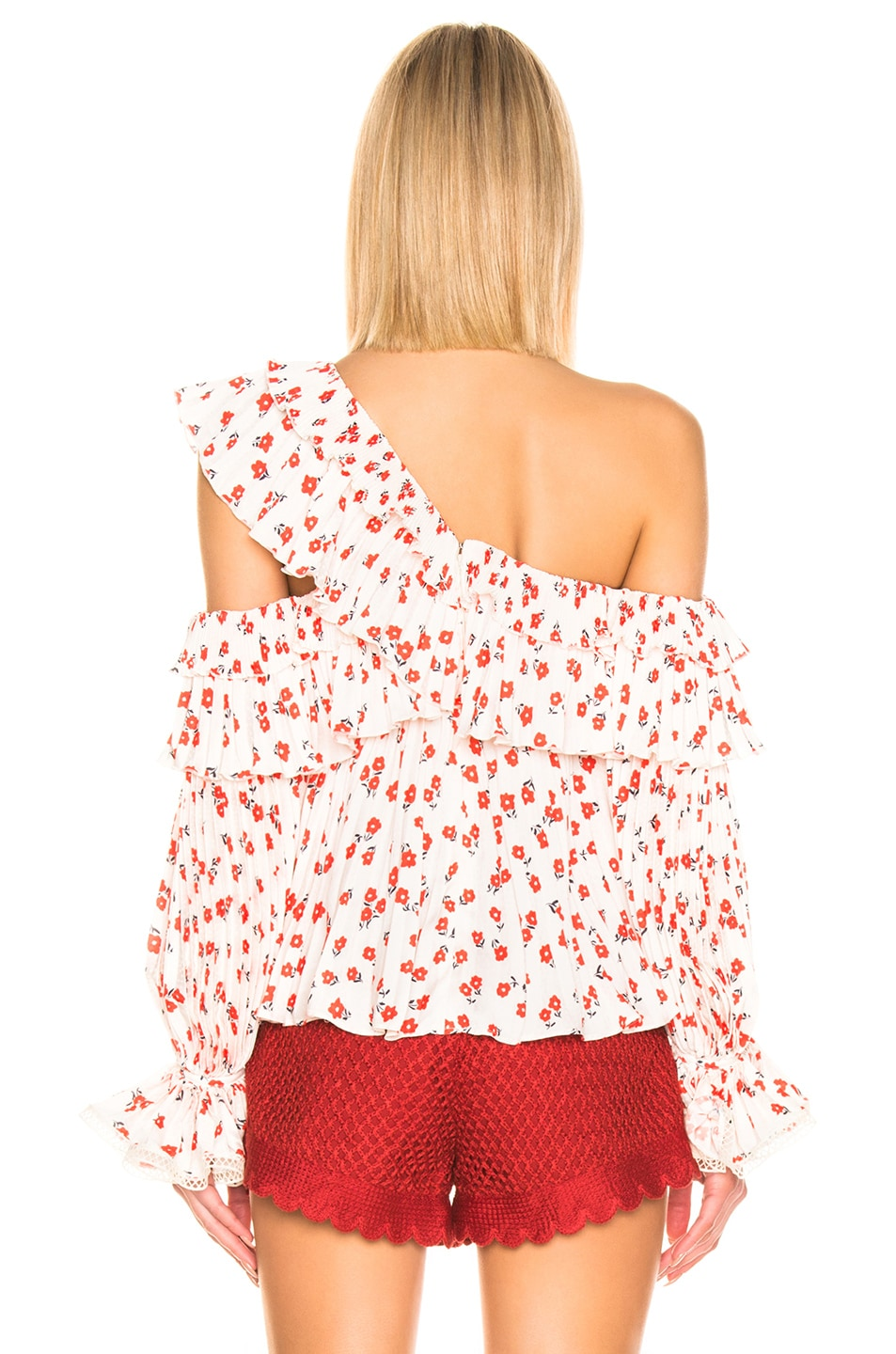 Image 4 of self-portrait One Shoulder Ditsy Printed Top in Cream