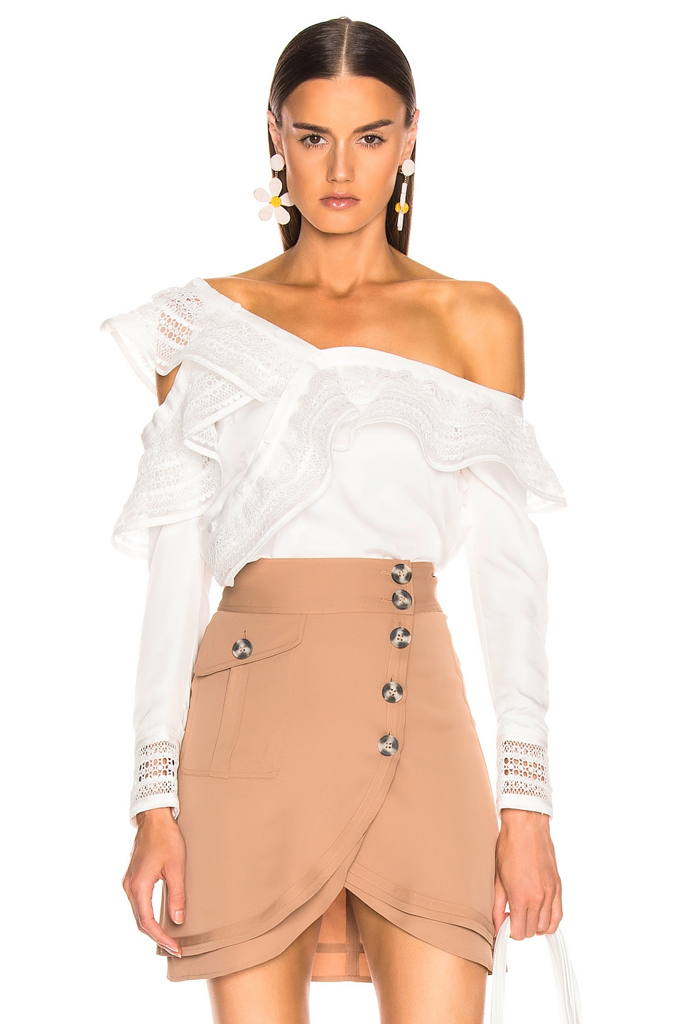 Image 1 of self-portrait One Shoulder Frilled Top in Ivory