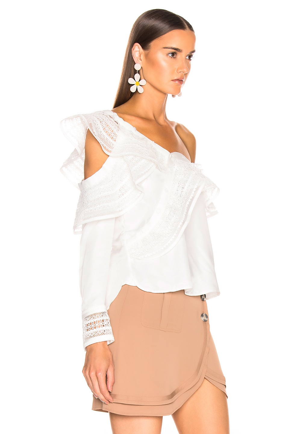 Image 2 of self-portrait One Shoulder Frilled Top in Ivory