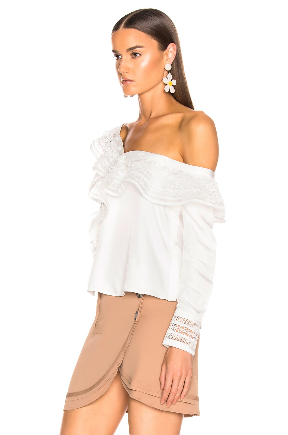 Image 3 of self-portrait One Shoulder Frilled Top in Ivory