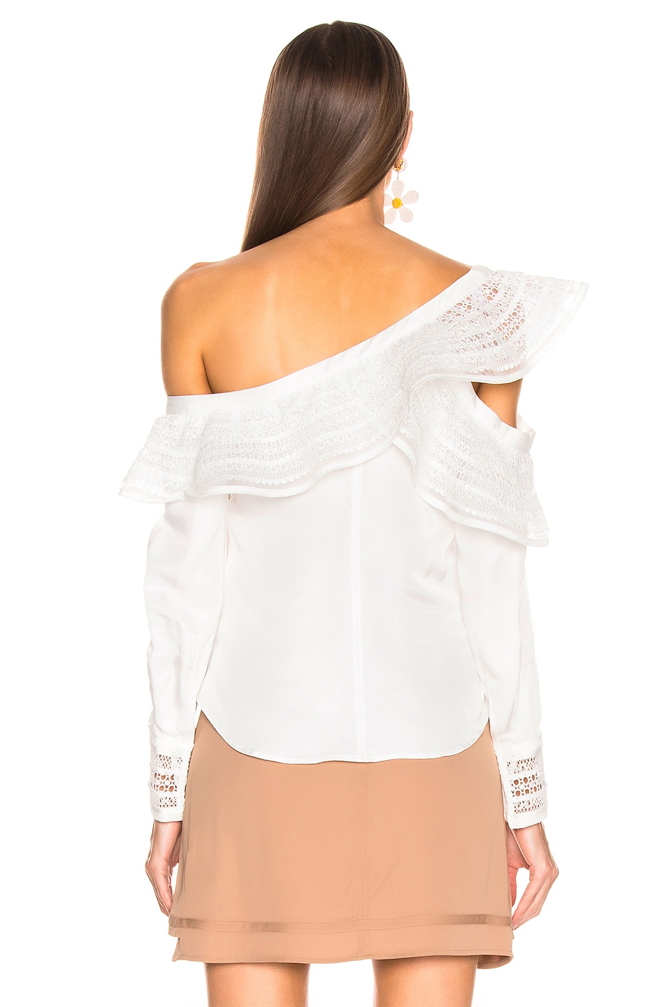 Image 4 of self-portrait One Shoulder Frilled Top in Ivory