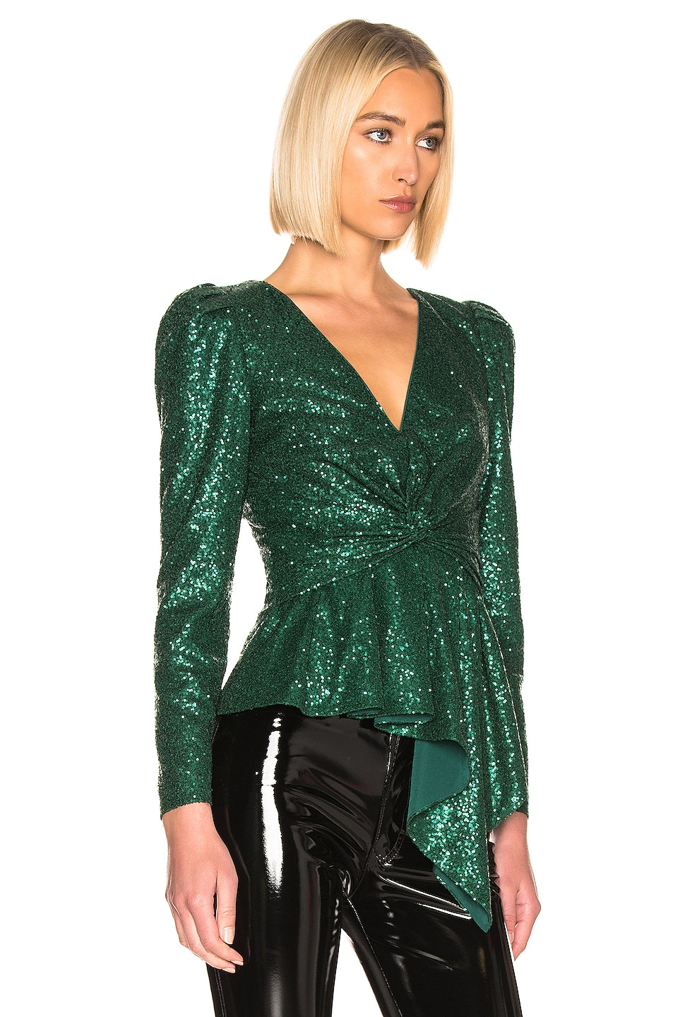 Image 2 of self-portrait for FWRD Sequin Top in Green