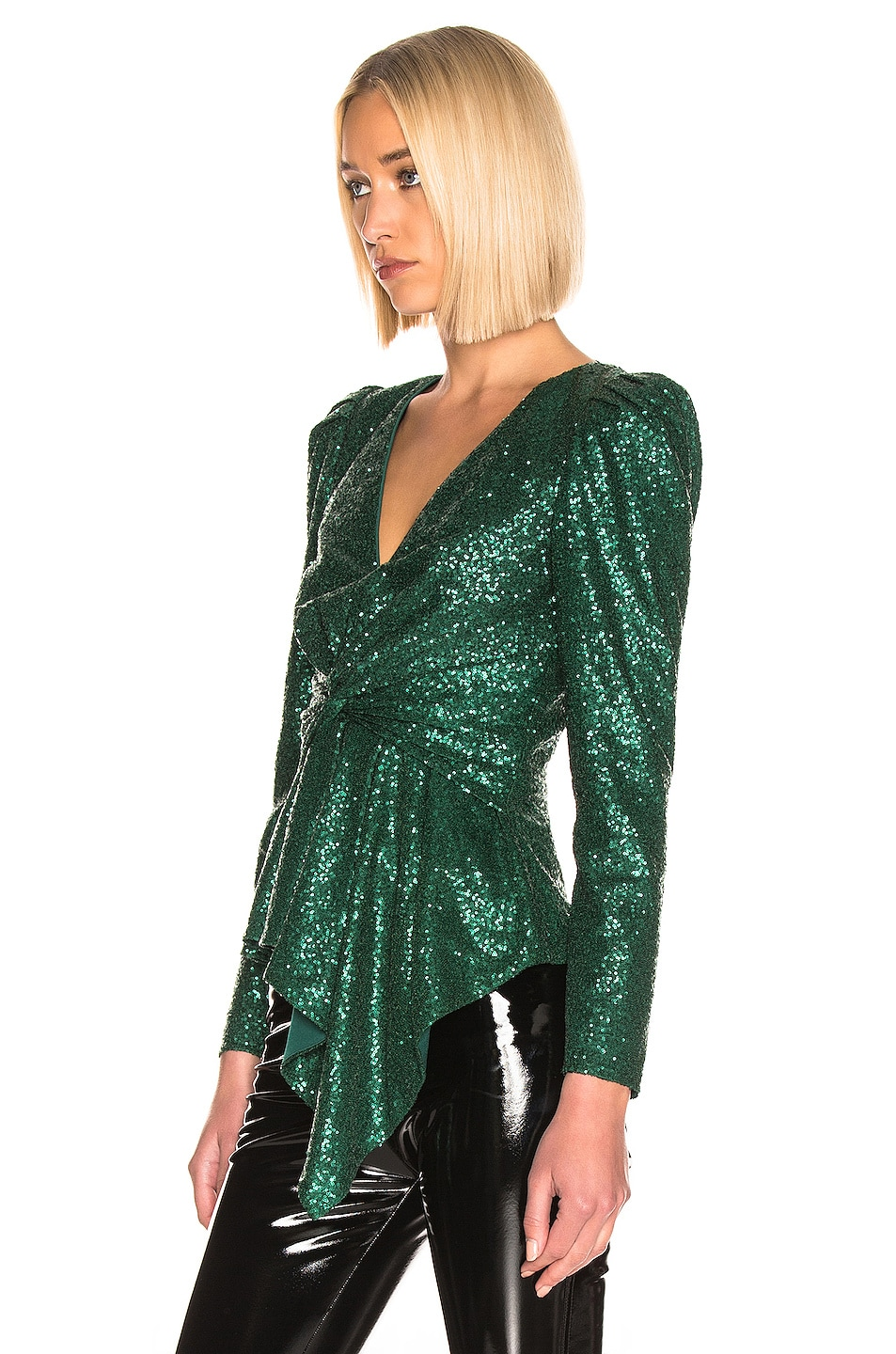 Image 3 of self-portrait for FWRD Sequin Top in Green