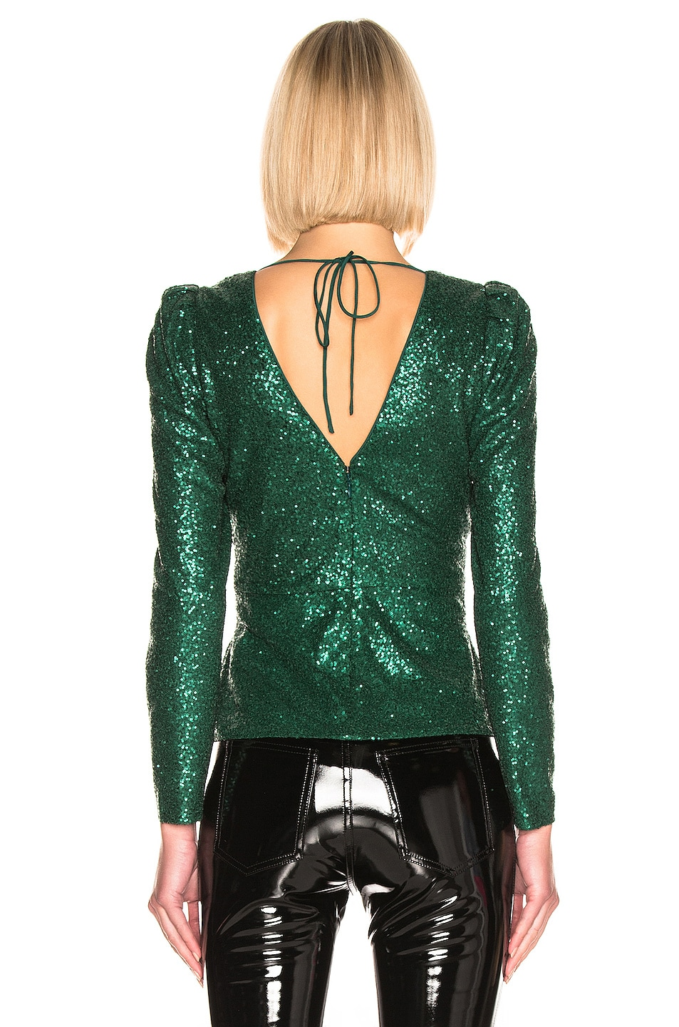Image 4 of self-portrait for FWRD Sequin Top in Green