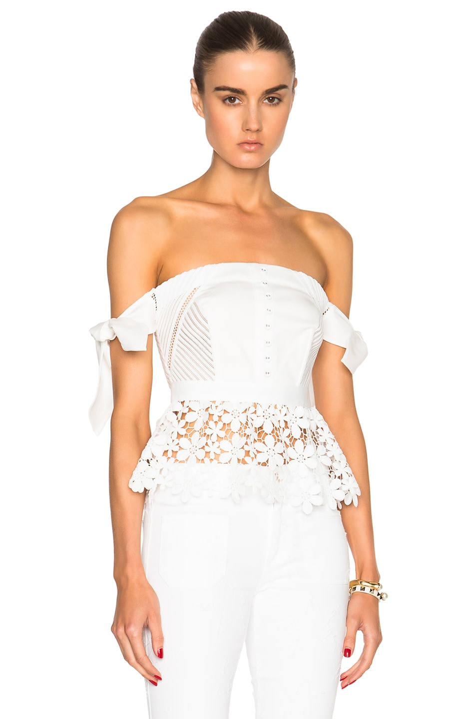 Image 1 of self-portrait Peplum Corset Top in Cream