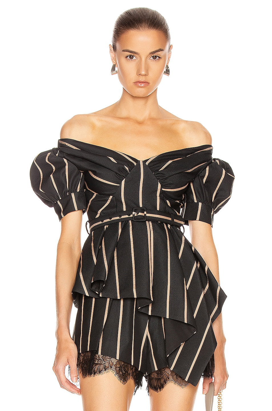 Image 1 of self-portrait Off Shoulder Stripe Top in Black & Beige