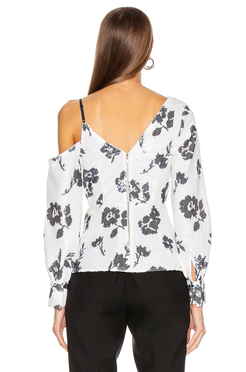 Image 4 of self-portrait Floral Sequin Wrap Top in Ivory & Navy