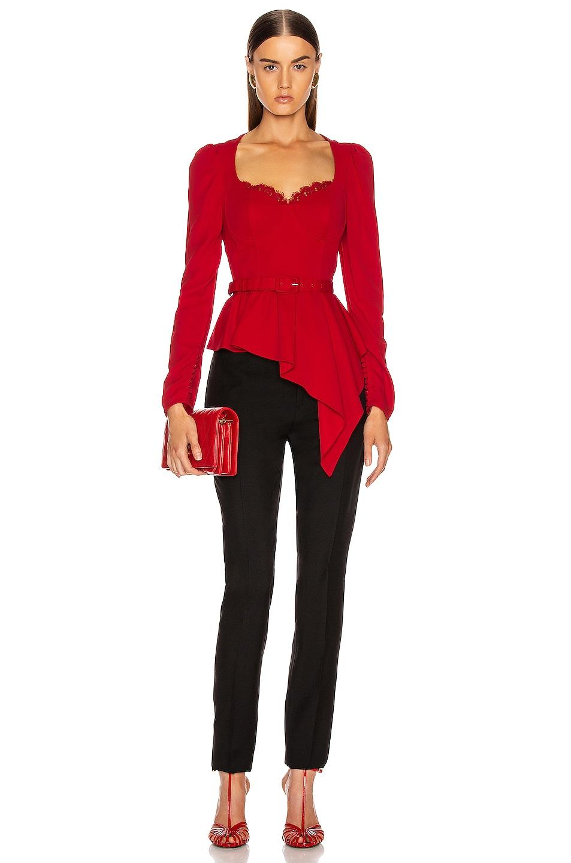 Image 5 of self-portrait Crepe Peplum Top in Dark Red