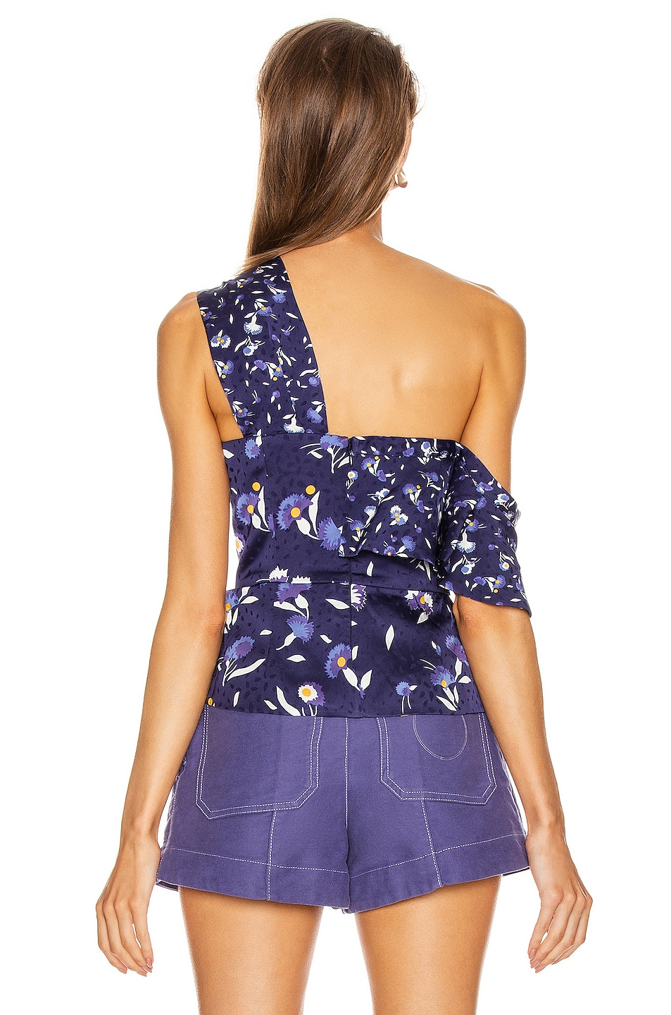 Image 4 of self-portrait Frilled Botanical Printed Top in Navy