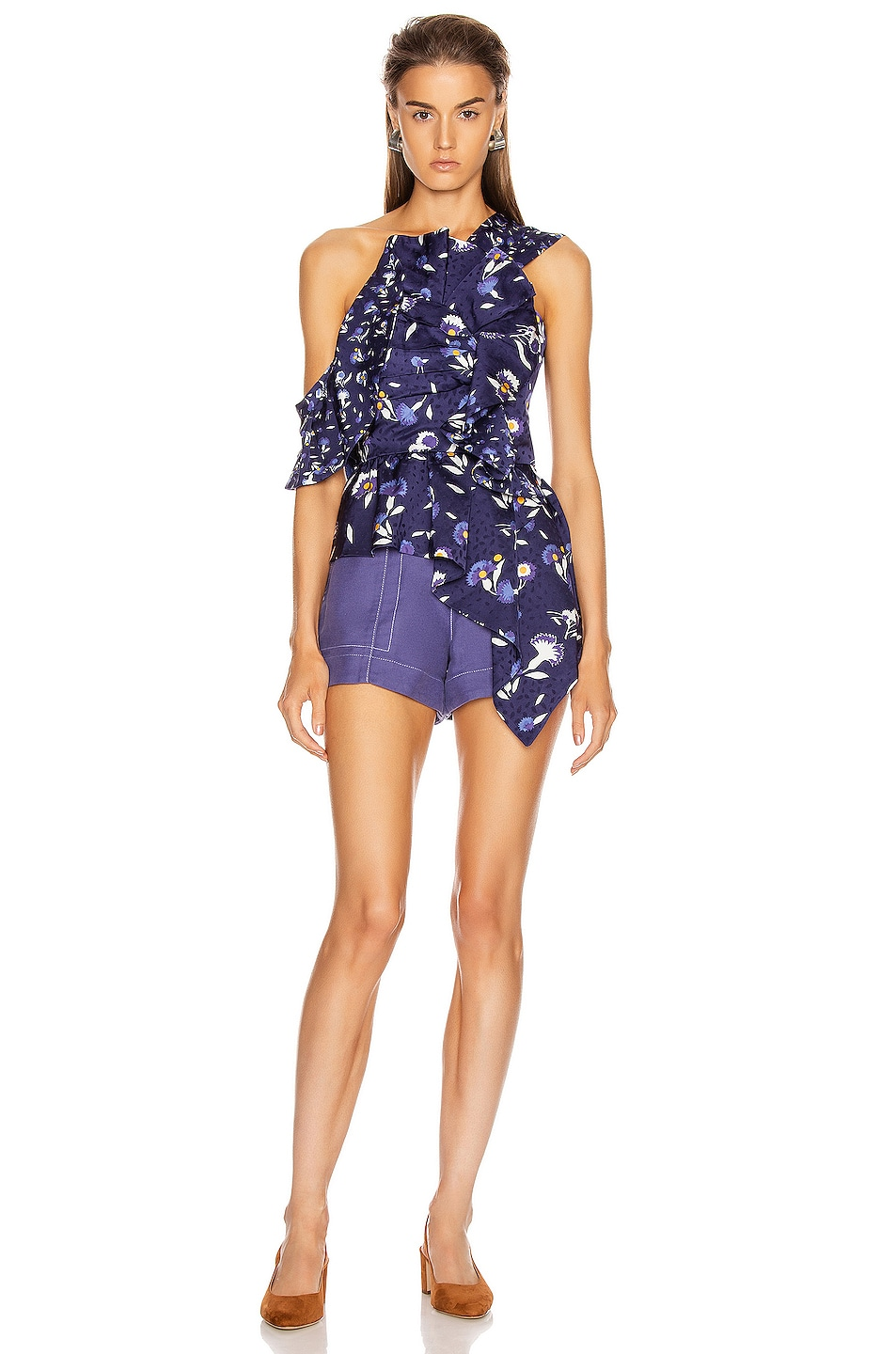 Image 5 of self-portrait Frilled Botanical Printed Top in Navy