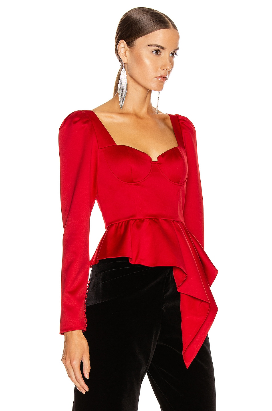 Image 2 of self-portrait Asymmetric Duchess Top in Red