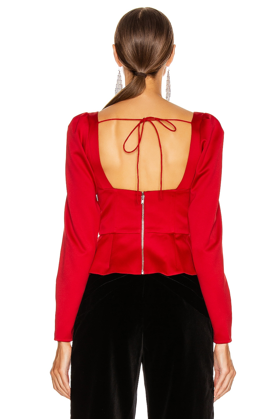 Image 3 of self-portrait Asymmetric Duchess Top in Red