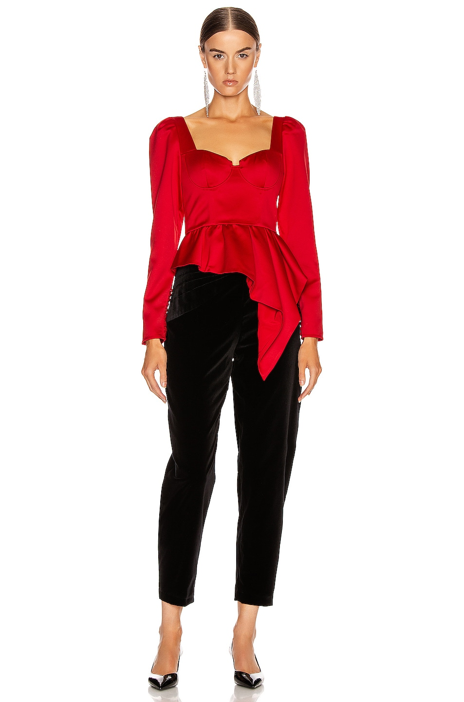 Image 4 of self-portrait Asymmetric Duchess Top in Red