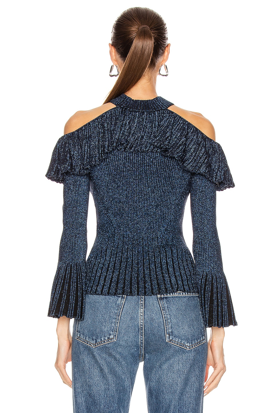 Image 3 of self-portrait Cold Shoulder Frill Knit Top in Navy