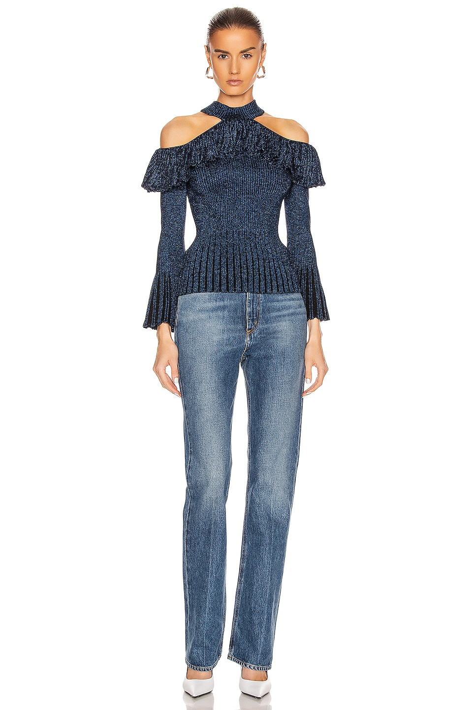 Image 4 of self-portrait Cold Shoulder Frill Knit Top in Navy