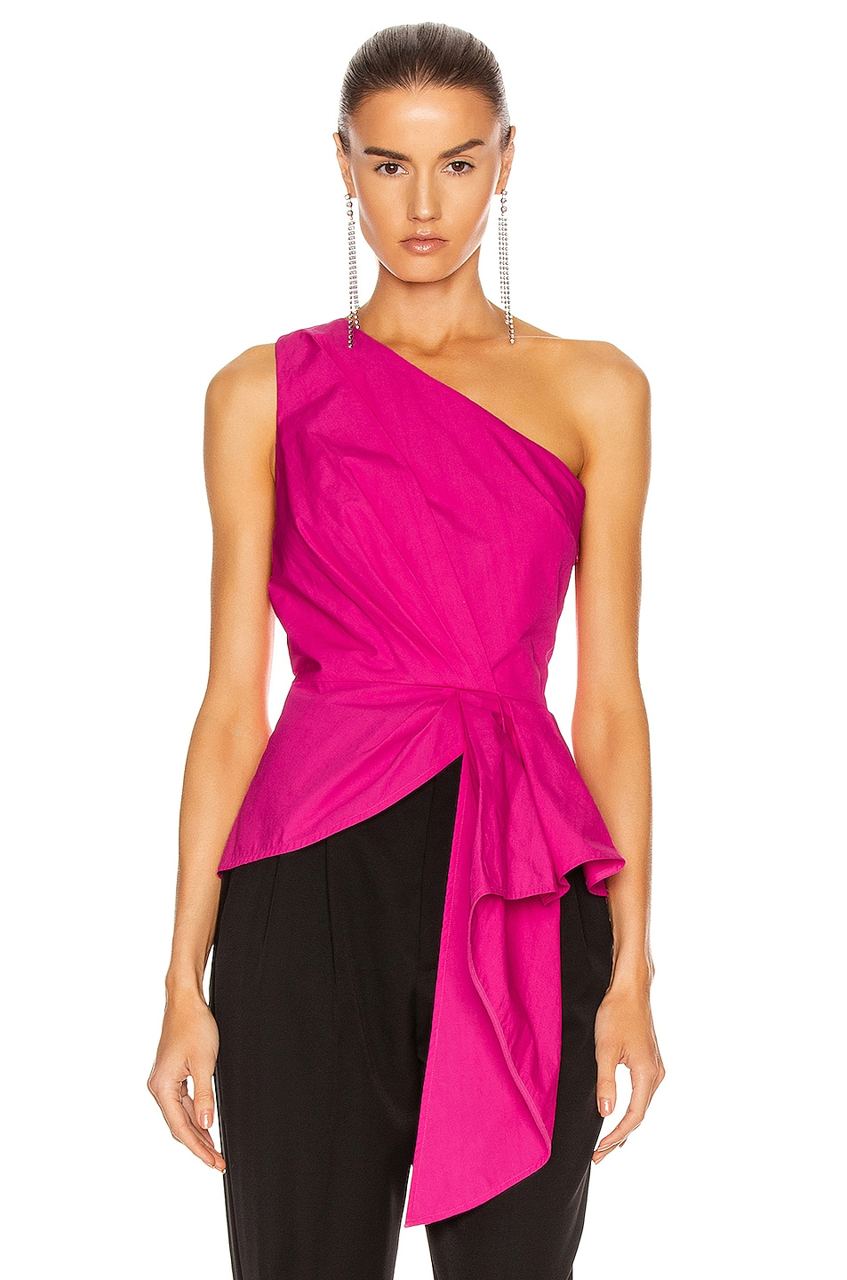 Image 1 of self-portrait One Shoulder Top in Fuchsia
