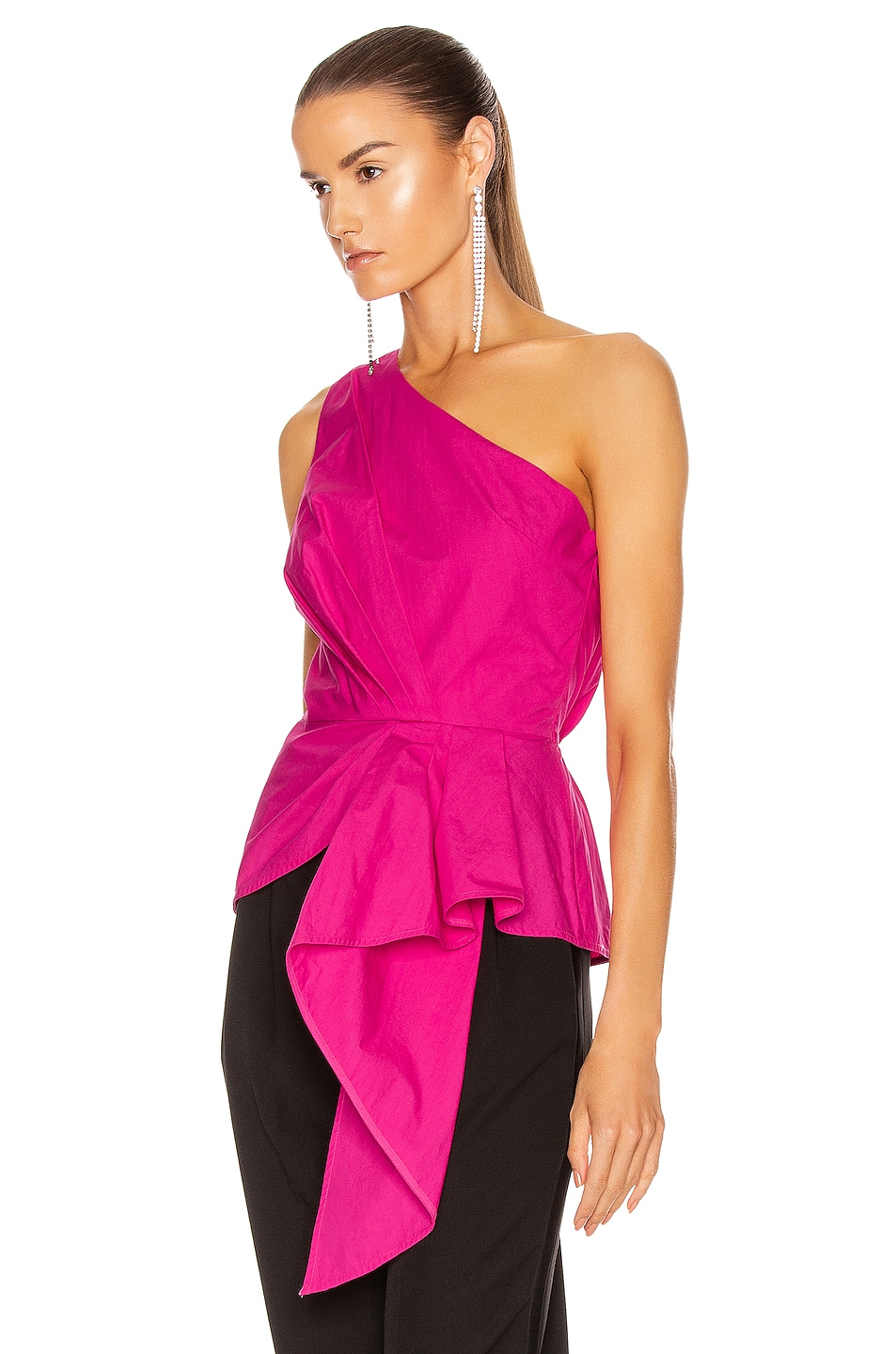 Image 3 of self-portrait One Shoulder Top in Fuchsia