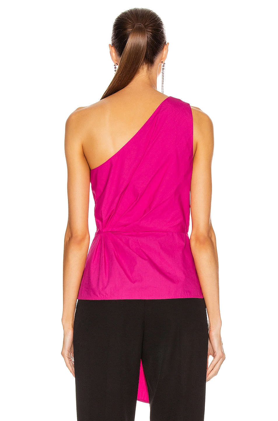 Image 4 of self-portrait One Shoulder Top in Fuchsia