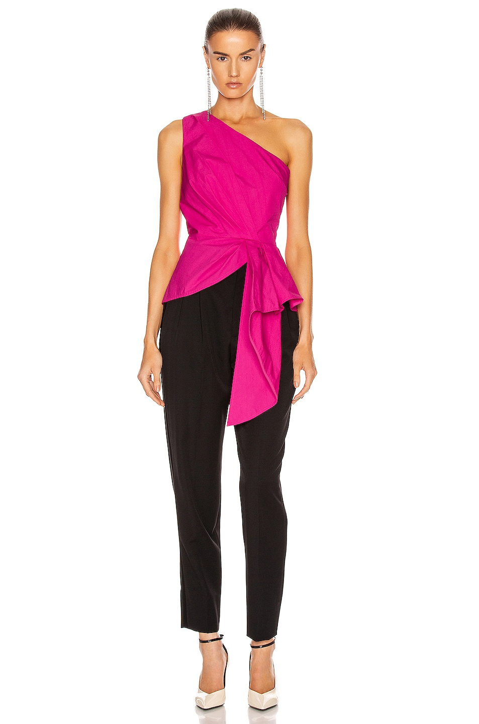 Image 5 of self-portrait One Shoulder Top in Fuchsia