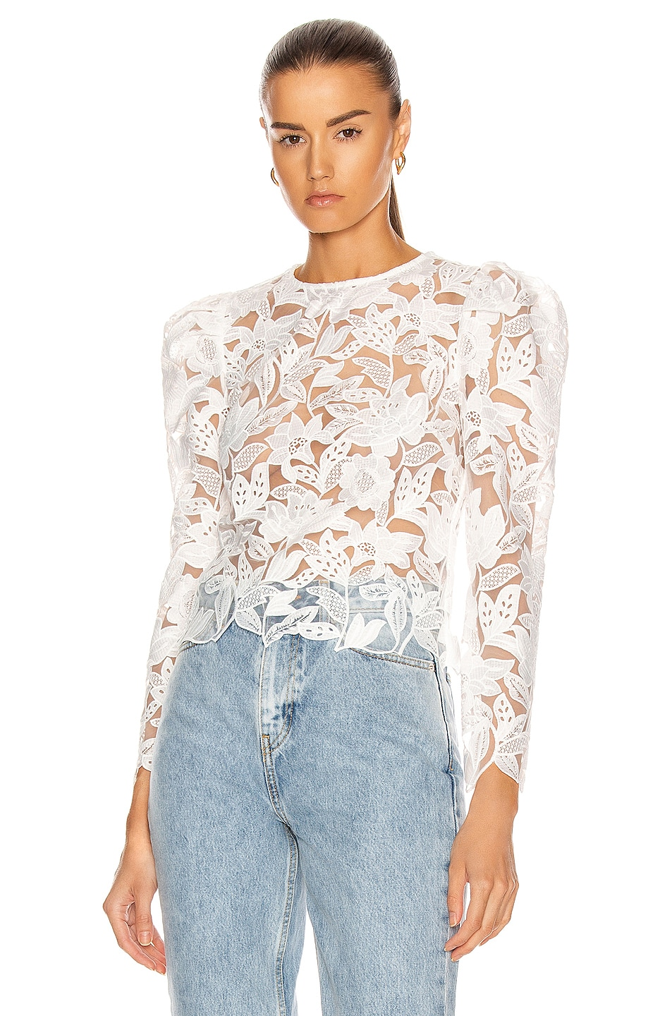 Image 1 of self-portrait Long Sleeve Leaf Guipure Top in White