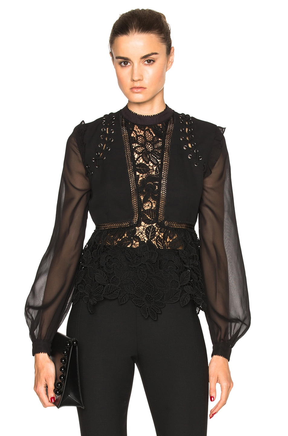 f3529fcb83ab Image 1 of self-portrait Lace Detail Top in Black