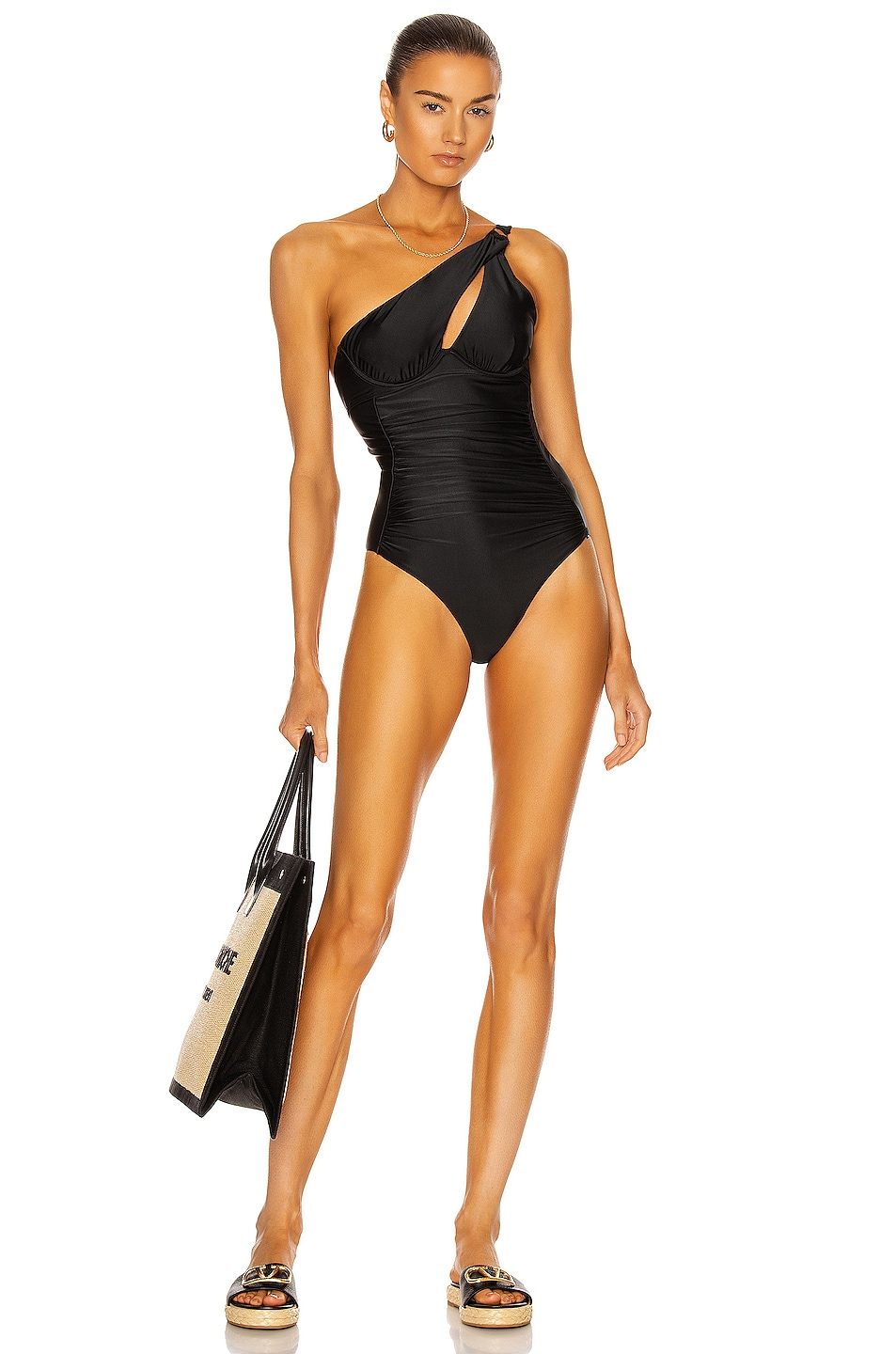 Image 1 of self-portrait Ruched One Shoulder Swimsuit in Black