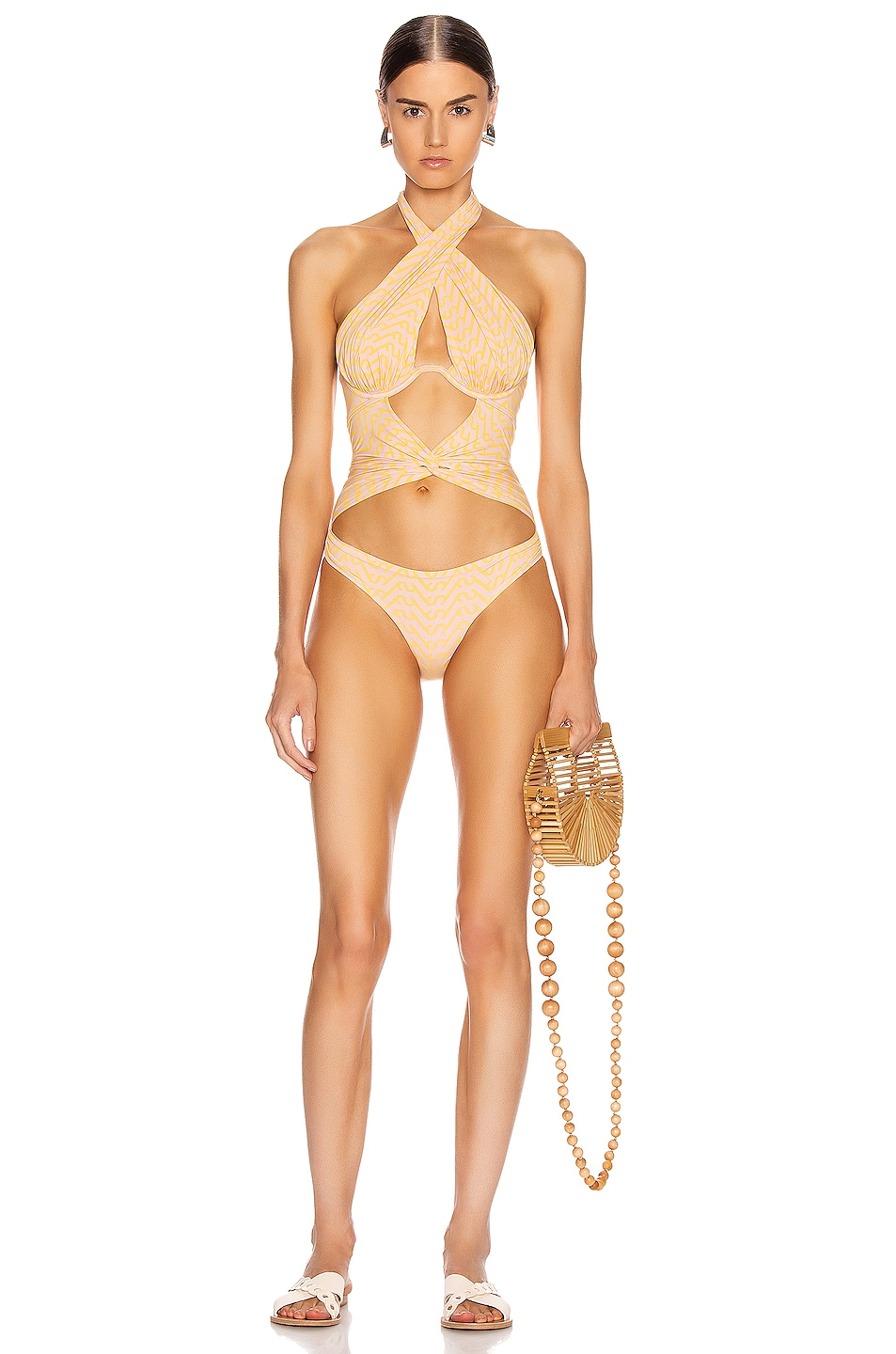 Image 1 of self-portrait Logo Printed Twist Swimsuit in Pink & Yellow
