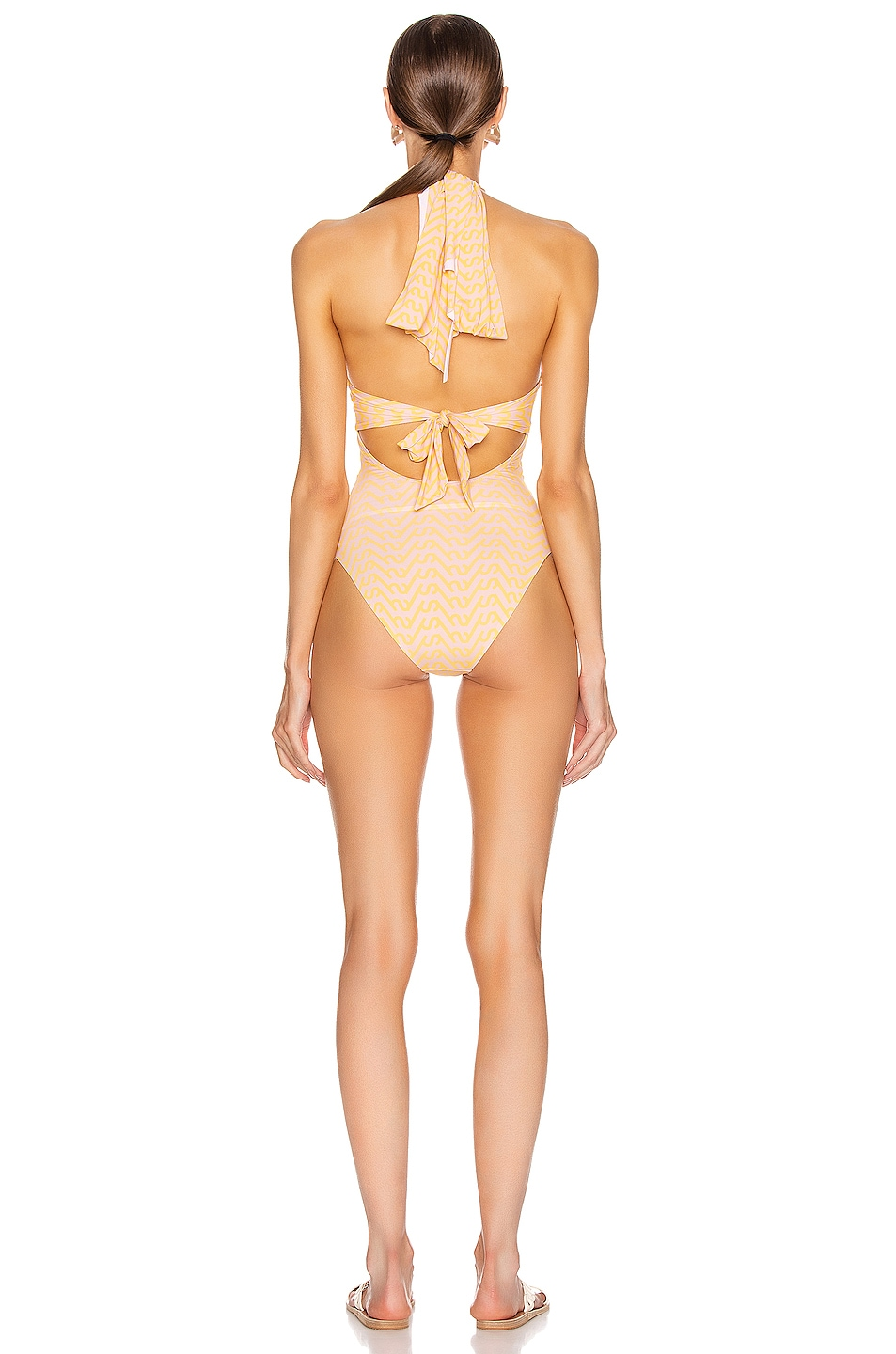 Image 3 of self-portrait Logo Printed Twist Swimsuit in Pink & Yellow