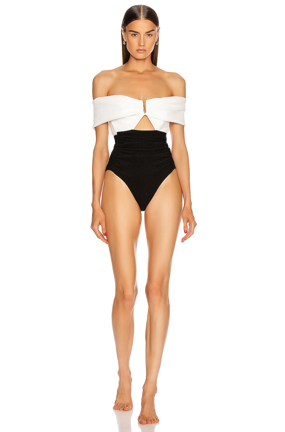 Image 1 of self-portrait Monochrome Ruched Off Shoulder Swimsuit in White & Black
