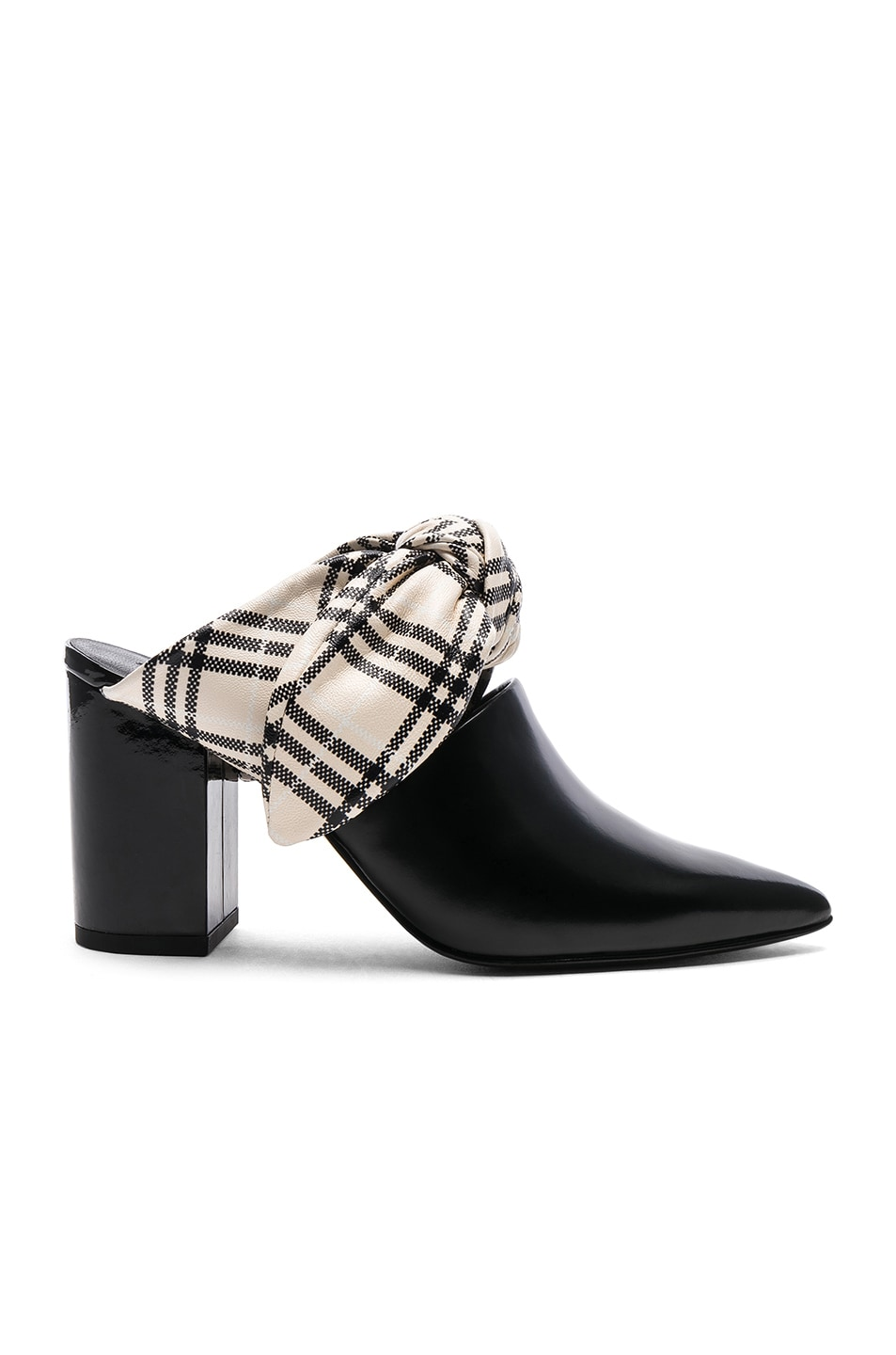 Image 1 of self-portrait Leather Lily Mules in Black