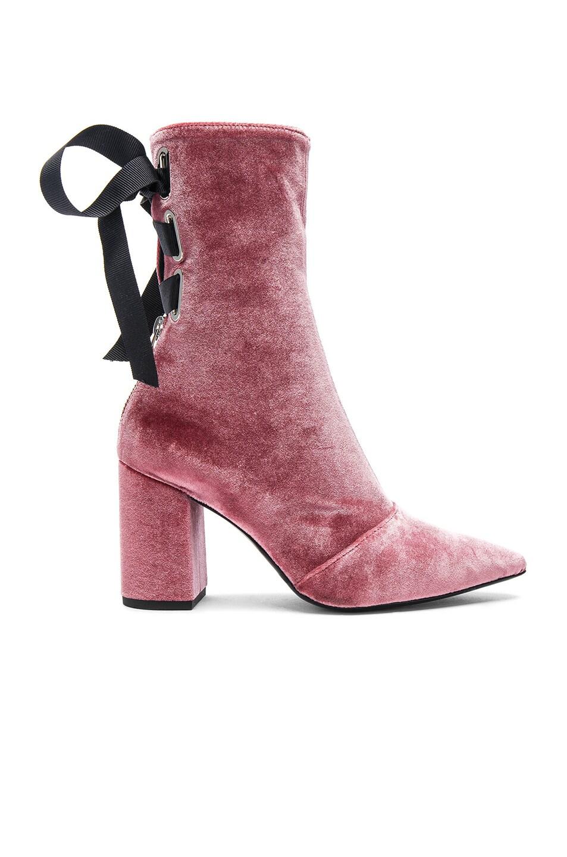 Image 1 of self-portrait x Robert Clergerie Velvet Kibbont Boots in Pink Velvet