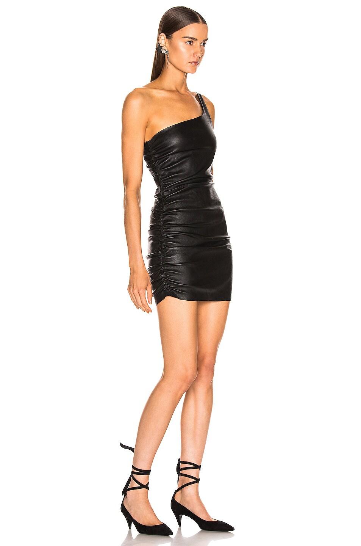 Image 2 of SPRWMN Shirred One Shoulder Dress in Black